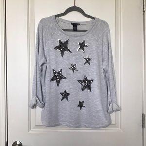 CHELSEA & THEIDORE Sequin Star Pullover Sweatshirt